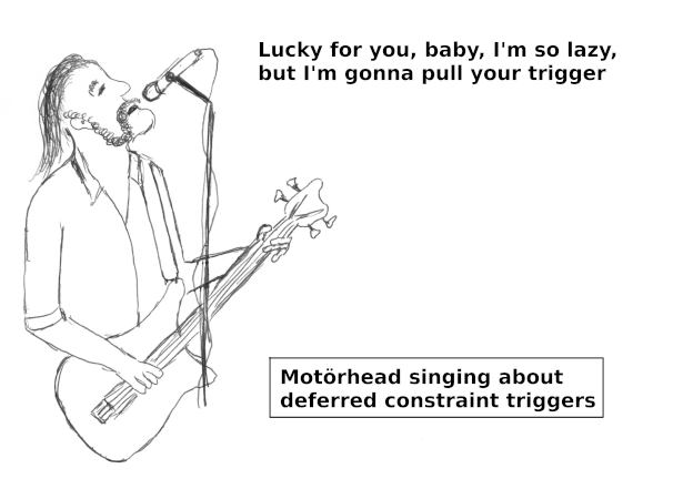 Motörhead singing about deferred constraint triggers