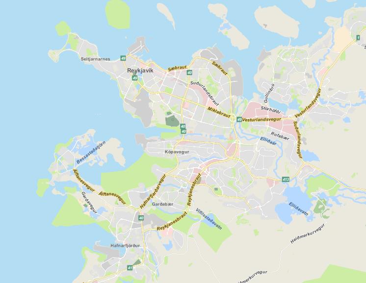 OSM to PostGIS - Qgis-Map of Reykjavík, SRID 3857 [7]