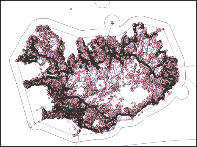 Basic QGIS style applied to osm_points and osm_lines from Iceland