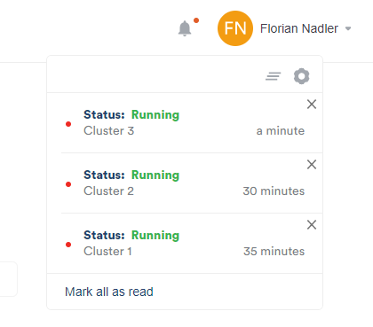 cluster notification scalefield