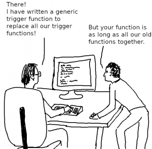 writing a generic row-level trigger function is not that easy
