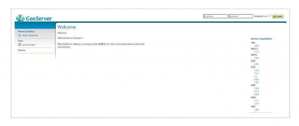 Figure 1 Geoserver Web Administrator