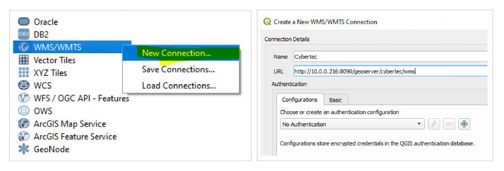 Figure 10 Add new WMS connection / Figure 11 Configure WMS