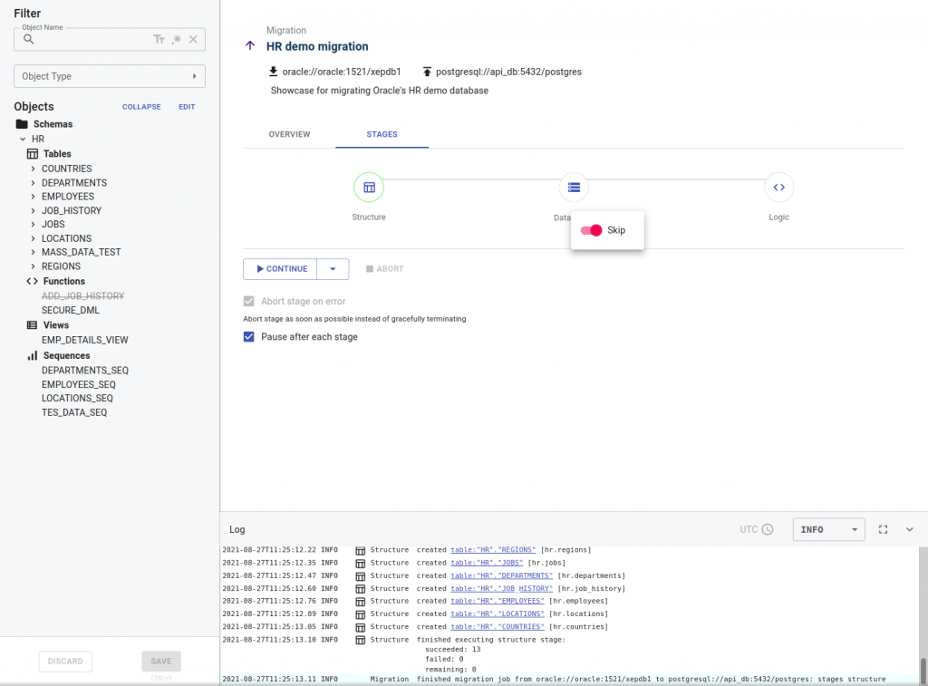 Control migration-skip data migration